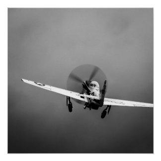 嵐のP-51ムスタングの離陸 ポスター