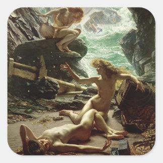 嵐Nymphs 1903年の洞窟(キャンバスの油) スクエアシール
