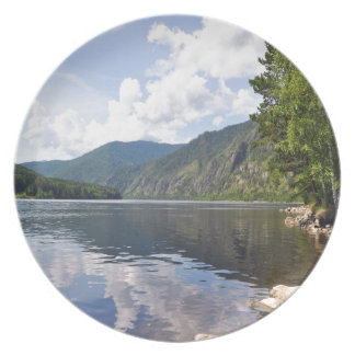 川との夏の景色 プレート