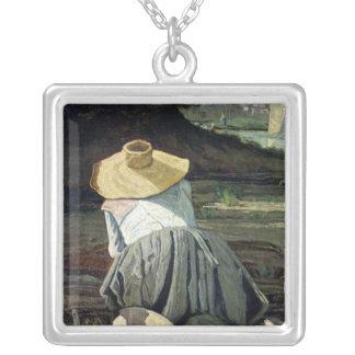 川によるWasherwoman、1860年 シルバープレートネックレス