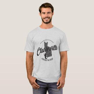 川の人のワイシャツを渡るClarksville猫 Tシャツ