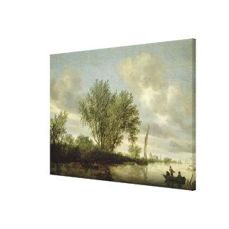 川の景色1645年 キャンバスプリント