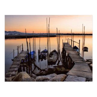 川の桟橋の支柱 ポストカード