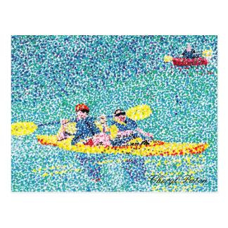 川の点描のカヤック場面 ポストカード
