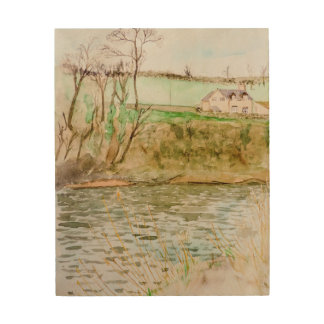川の眺め、Y字状回路の干し草 ウッドウォールアート
