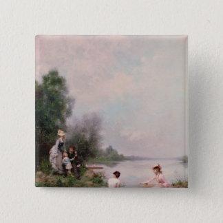 川の船遊び、19世紀 5.1CM 正方形バッジ