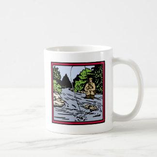 川の魚釣り コーヒーマグカップ