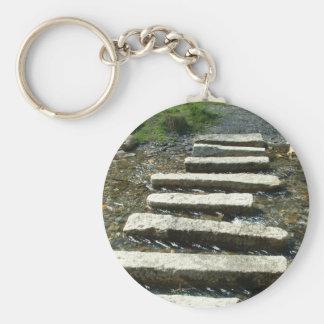 川を渡る花こう岩の飛石 キーホルダー
