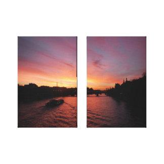 川セーヌ河の日没 キャンバスプリント
