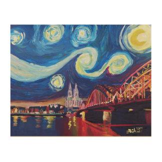 川ラインおよびCathedrのケルンの星明かりの夜 ウッドウォールアート
