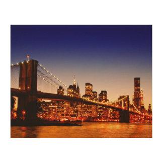 川上の橋とのニューヨークの都市景観 ウッドウォールアート