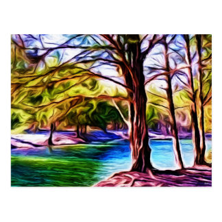 川岸の木 葉書き