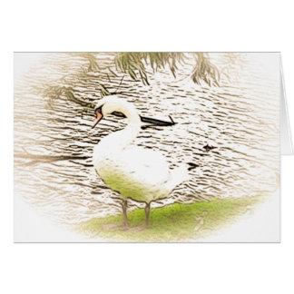 川岸の白鳥の挨拶状 ノートカード