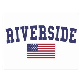 川岸米国の旗 ポストカード