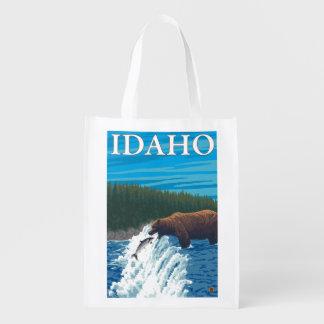川-アイダホのくまの魚釣り エコバッグ