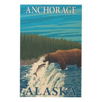 川-アンカレッジ、アラスカのくまの魚釣り ウッドウォールアート