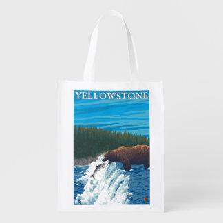 川-イエローストーンの国民のくまの魚釣り エコバッグ