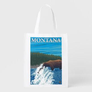川-モンタナのくまの魚釣り エコバッグ