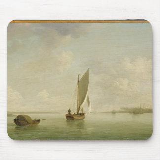 川、cの軽い微風の帆の下の平手で打 マウスパッド