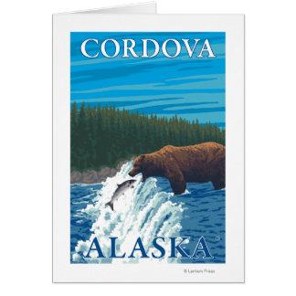 川- Cordova、アラスカのくまの魚釣り カード