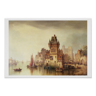 川、Dordrecht 1879年の意見(canvaの油 ポスター