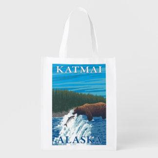 川- Katmai、アラスカのくまの魚釣り エコバッグ