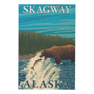 川- Skagway、アラスカのくまの魚釣り ウッドウォールアート