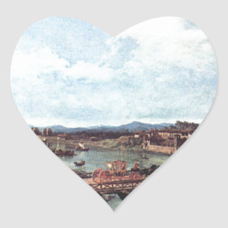 川Po、トゥーリン上の古い橋の眺め ハートシール