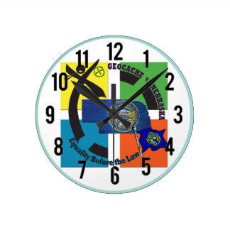 州のネブラスカのモットーGEOCACHER ラウンド壁時計