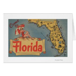 州のフロリダの地図に来られる、Pin女の子 グリーティングカード