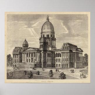 州の国会議事堂の建物、病気スプリングフィールド ポスター
