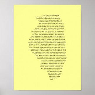 州の地図の形のイリノイ都市名前 ポスター