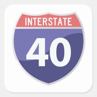 州連帯の40 (I-40)遠征旅行ステッカー スクエアシール