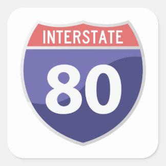 州連帯の80 (I-80)遠征旅行ステッカー スクエアシール