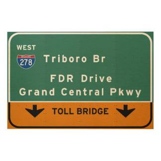 州連帯NYCニューヨークシティTriboroのBr FDRドライブ ウッドウォールアート