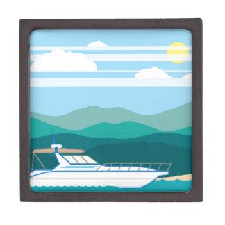 巡洋艦のボートの景色の海岸 ギフトボックス