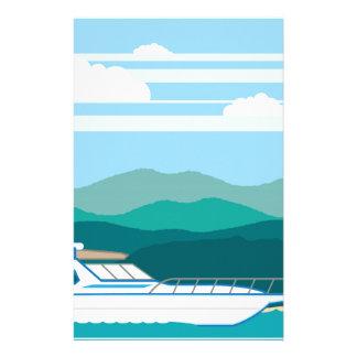 巡洋艦のボートの景色の海岸 便箋
