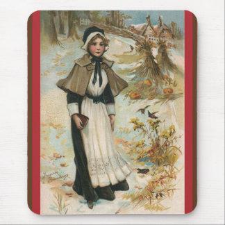 巡礼者の女性との感謝祭日の挨拶 マウスパッド