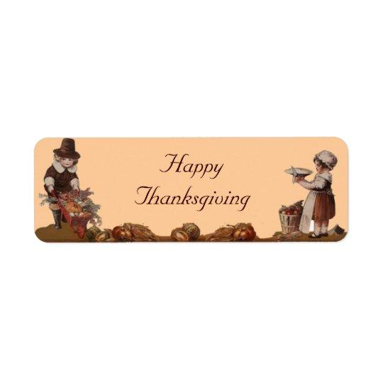 巡礼者の子供の幸せな感謝祭 返信用宛名ラベル