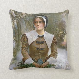 巡礼者の若い女性の感謝祭のアクセントの枕 クッション