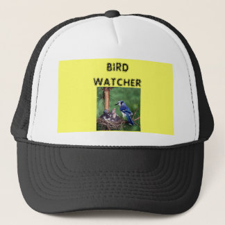 巣のアオカケス、鳥監視人 キャップ