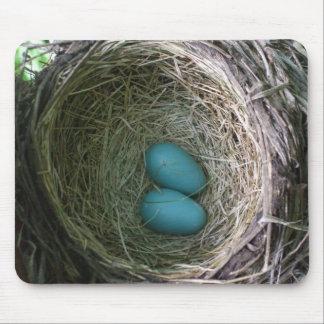 巣のロビンの2個の卵 マウスパッド