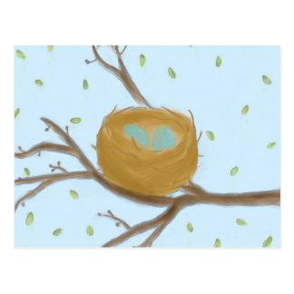 巣の郵便はがきの斑入りの青い卵 ポストカード