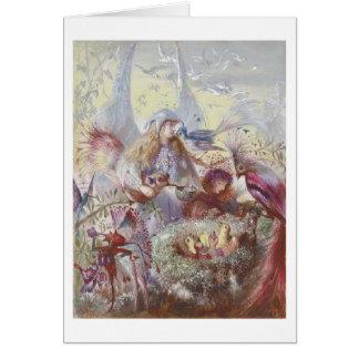 巣(中ブランク)の妖精及び鳥 カード