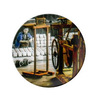 工場古い日本ヴィンテージの絹のスプール 磁器プレート