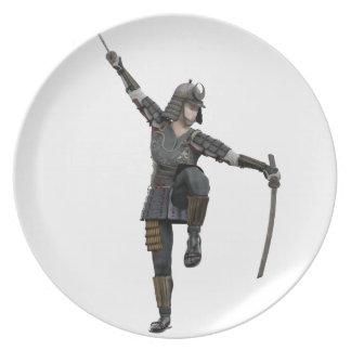 左に見る2本の剣を持つ武士 プレート