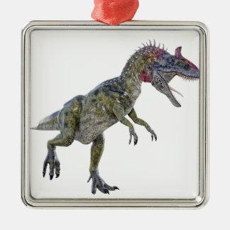 左に走っているCryolophosaurus メタルオーナメント