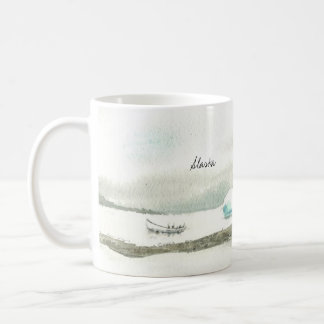 左利きのアラスカのボート旅行 コーヒーマグカップ
