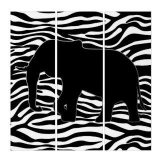 左象のシルエットの黒 + あなたの背景 トリプティカ