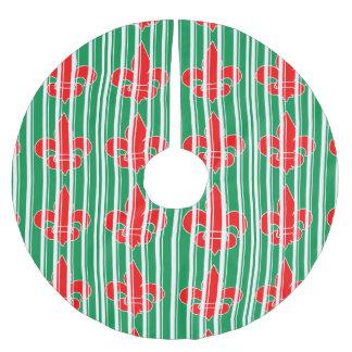 巨大で赤い(紋章の)フラ・ダ・リのクリスマスツリーのスカート ブラッシュドポリエステルツリースカート